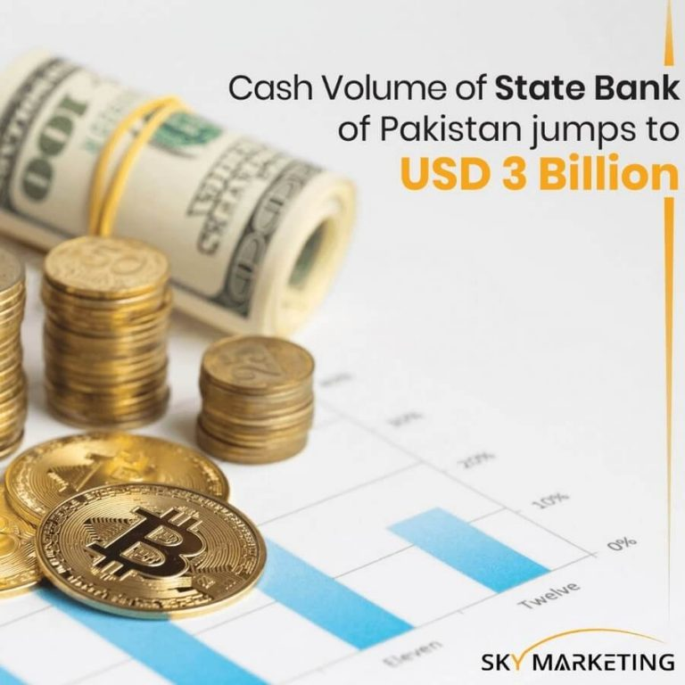 Cash Volume of State bank of Pakistan jumps to USD 3 billion